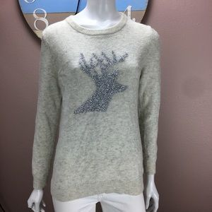 Talbots Sweater Metallic Deer Knit Crewneck